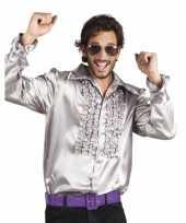 Goedkope zilveren rouche overhemd voor heren