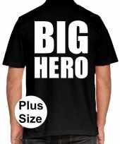 Goedkope zwart plus size big hero polo t-shirt voor heren