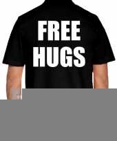 Goedkope zwart plus size free hugs polo t-shirt voor heren