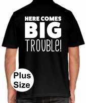 Goedkope zwart plus size here comes big trouble polo t-shirt voor heren