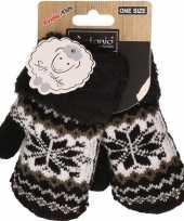 Goedkope zwart witte gebreide handschoenen met noorse print voor peuters