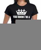 Goedkope zwart you know i am a fucking queen t-shirt dames