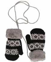 Goedkope zwarte gebreide handschoenen met noorse print voor peuters