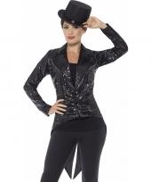 Goedkope zwarte pailletten circus jas voor dames