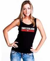 Goedkope zwitserland supporter mouwloos shirt tanktop zwart dames