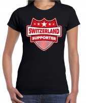 Goedkope zwitserland switzerland supporter t shirt zwart voor dames